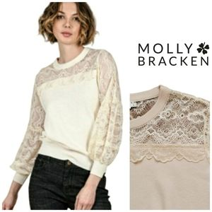 ☀️ MOLLY BRACKEN Lace Knit Pullover Sweater